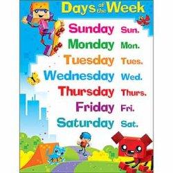 """画像1: 【T-38375】LEARNING CHART """"DAYS OF THE WEEK"""""""