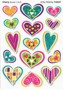 "画像1: 【T-83037】MIXED SHAPE STINKY STICKER  ""ARTSY HEARTSY(Cherry)"""